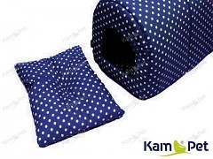 Polštářek do boudičky pro pejska vel. 3 KamPet Classic puntík 06 Modrý tmavě