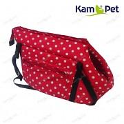 Červená taška na psa KamPet 100% bavlna červený puntík