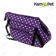 Fialová taška na psa KamPet 100% bavlna Fialový puntík