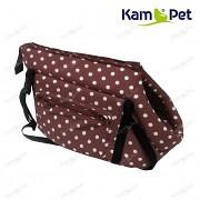Hnědá taška na psa KamPet 100% bavlna hnědý puntík