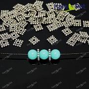 Keltské kovové korálky čtverce 7/7 platinové mezidíly, á 1ks
