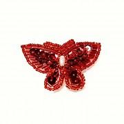 ČERVENÝ motýl nášivka luxusní ozdoba flitry