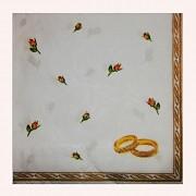 BÍLÉ svatební ubrousky prsteny růže, 1ks