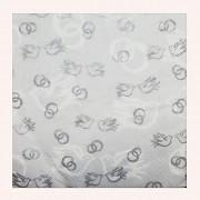 BÍLÉ svatební ubrousky stříbrné prsteny holubice, 1ks