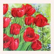ČERVENÉ svatební ubrousky / tulipány 33x33cm, 1ks