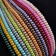Korálky voskované perly rondelky 5/3mm MIX