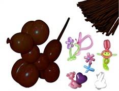 HNĚDÉ Italské modelovací balónky extra dlouhé , 1ks