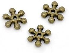 Bronzové korálky kovové mezikorálky vločky, bal. 20ks