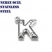 Hypoalergenní přívěšek písmeno K nerezová ocel 304, á 1ks