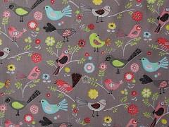 Kupón 181 barevní ptáčci látka 100% bavlna ATEST DĚTI
