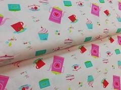 PIKNIK konvičky - jahody - dorty látka 100% bavlna plátno ATEST DĚTI