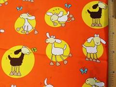 ORANŽOVÉ OVEČKY látka 100% bavlna atest děti