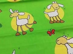 Kupón 180 ZELENÉ OVEČKY látka 100% bavlna ATEST DĚTI