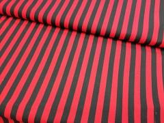 Látka bavlna červeno-černé proužky 10mm plátno ATEST DĚTI,  á 1m