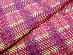 Kupón 341 ORANŽOVÉ KÁRO látka 100% bavlna ATEST DĚTI