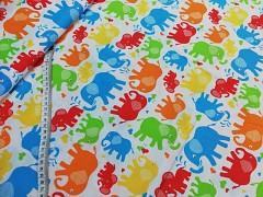 Bílá látka / BAREVNÍ sloni plátno ATEST DĚTI látka se slony,  á 1m