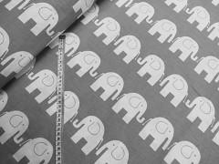 Šedá látka / BÍLÍ sloni plátno ATEST DĚTI látka se slony,  á 1m