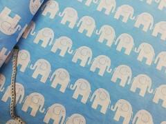 Modrá látka / BÍLÍ sloni plátno ATEST DĚTI látka se slony,  á 1m
