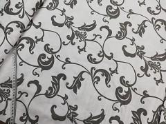 Bílá látka / ŠEDÝ ornament plátno ATEST DĚTI látka,  á 1m
