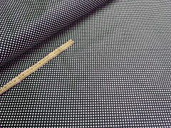 Kupón č. 410 tmavě modrá látka s puntíky mini puntíkované modré plátno 100% bavlna