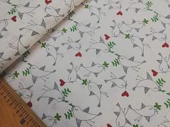 Ptáčci / bílá látka 100% bavlna bavlněné plátno ATEST DĚTI