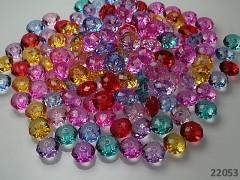 Pestrobarevný MIX korálky broušené rondelky akryl 10/6 bal. 7g ± 20ks