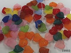 Pestrobarevné korálky akrylové lístečky 16/15, bal. 7g ± 20ks