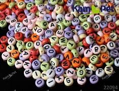 Pestrobarevné korálky písmena 7mm, bal. 4g ± 30-35ks