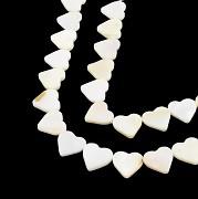 Bílá PERLEŤ srdce 14mm přírodní minerál luxusní korálky srdíčka