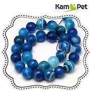 Korálky z minerálů modrý ACHÁT  broušené kuličky 8mm přírodní minerál