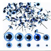 MODRÉ zapichovací oči s duhovkou 6mm oči na výrobu hraček panenek