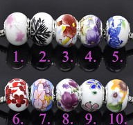 vz.10 Bílá pandora korálek s květy slunečnice STŘÍBRO PUNC 925 korálky