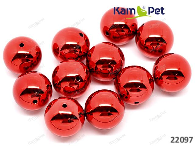 Korálky velké kuličky 20mm zářívě červené, bal. 2ks
