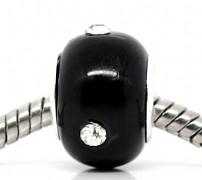 Černá pandora korálek s kamínkem korálky pandora styl