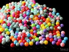 Pestrobarevné korálky akrylové kuličky 6mm, bal. 10g ± 100ks
