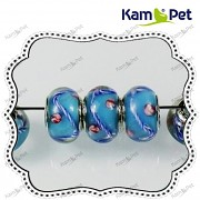 Pandora korálek vinuté sklo vinutka PUNC 925 modré květy