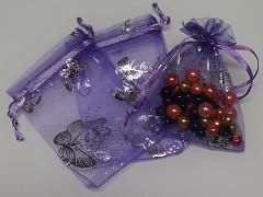 Organza pytlík 16x13cm sv.fialový s motýlky