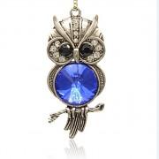 STŘÍBRNÁ SOVA LUXUSNÍ Přívěšek stříbrný modrý vintage náhrdelník s přívěškem dárek pro ženu