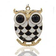 ČERNOBÍLÁ SOVA LUXUSNÍ Přívěšek zlatý vintage náhrdelník s přívěškem dárek pro ženU