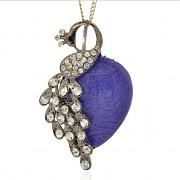 MODRÝ LUXUSNÍ Přívěšek PÁV S KAMÍNKY vintage náhrdelník s přívěškem dárek pro ženu