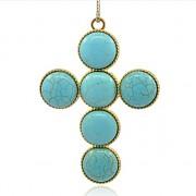 TYRKENIT KŘÍŽ LUXUSNÍ Přívěšek zlatý vintage náhrdelník s přívěškem howlit dárek pro ženu