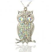 STŘÍBRNÁ SOVA s kamínky LUXUSNÍ přívěšek vintage náhrdelník s přívěškem dárek pro ženu