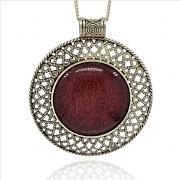 HNĚDÝ magický kruh LUXUSNÍ Přívěšek vintage náhrdelník s přívěškem dárek pro ženu