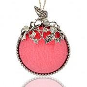 KORÁLOVÝ LUXUSNÍ Přívěšek stříbrný vintage náhrdelník s přívěškem dárek pro ženu