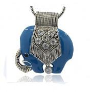 MODRÝ SLON LUXUSNÍ Přívěšek stříbrný vintage náhrdelník s přívěškem dárek pro ženu