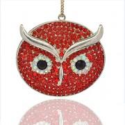 ČERVENÁ SOVA s kamínky LUXUSNÍ Přívěšek stříbrný vintage náhrdelník s přívěškem dárek pro ženu