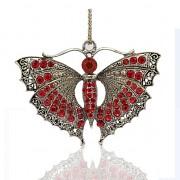 ČERVENÝ MOTÝL s kamínky LUXUSNÍ Přívěšek stříbrný vintage náhrdelník s přívěškem dárek pro ženu