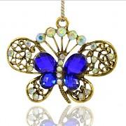 MODRÝ MOTÝL s kamínky LUXUSNÍ Přívěšek zlatý vintage náhrdelník s přívěškem dárek pro ženu