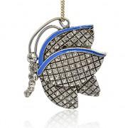 MODRÝ MOTÝL s kamínky LUXUSNÍ Přívěšek stříbrný vintage náhrdelník s přívěškem dárek pro ženu