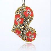 RŮŽOVÉ SRDCE s kamínky LUXUSNÍ Přívěšek zlatý vintage náhrdelník s přívěškem dárek pro ženu